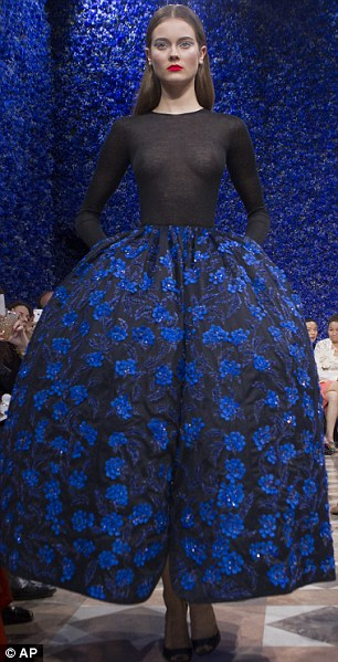 Stunning: The designs by Ralf Simons for Dior were full of bold shapes and deep colours