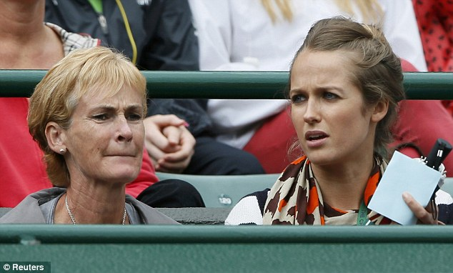 Part of the family: Just like Kate, Kim is comfortable with the family. She watches the match today with Andy's mother Judy