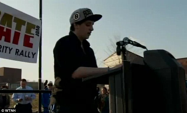 Speaking out: Pennell is pictured speaking at an anti-hate rally sparked by the notes found in her dorm