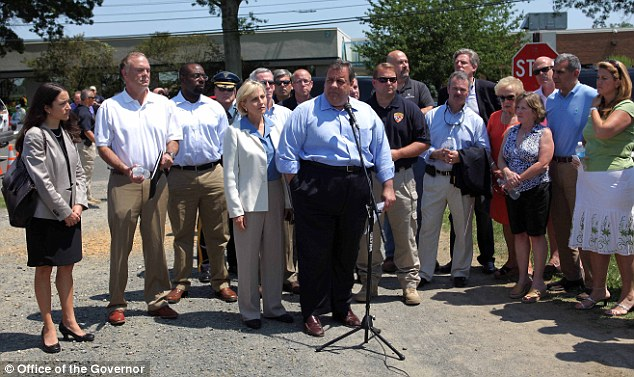 Governor Chris Christie and Lt. Governor Kim Guadagno hold a press conference after meeting with Office of Emergency Management on the water emergency situation in Oceanport, New Jersey on Saturday, June 30, 2012