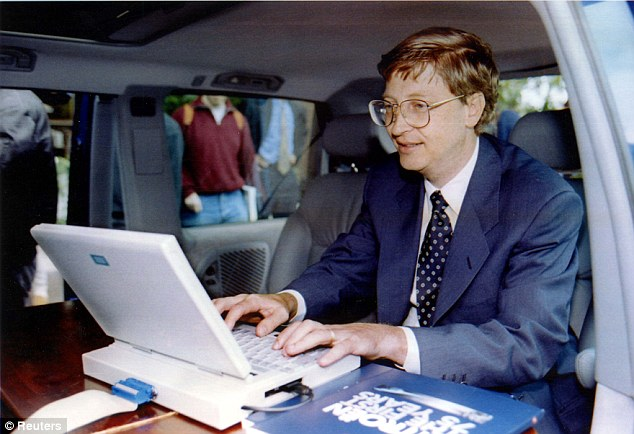 Short-sighted: Gates, pictured here in 1995, turned his nose up at a touch-screen device because he wanted everything to go through Microsoft Office, which used a keyboard