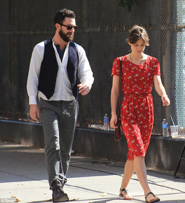 Film magic: Adam Levine arrived on location for the film Can a Song Save Your Life alongside co-star Keira Knightly this morning with a burly beard