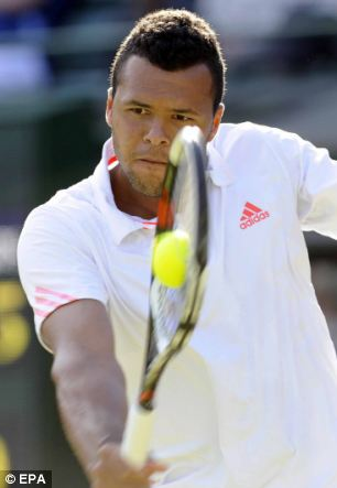 Jo-Wilfried Tsonga of France playing at Wimbledon