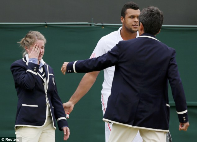 Remarking on her bravery, a tennis commentator said: 'She was putting her hand up there, determined to make the call... she still made the call. A real sting in the eye there'