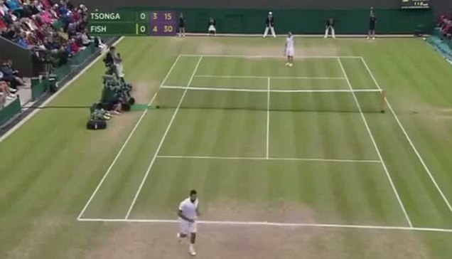 Tsonga rushes to the aid of the poor line judge following the incident