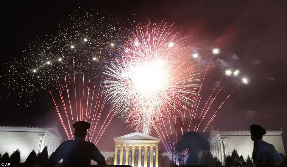 In the city of Brotherly love: Fireworks light up the sky over the Philadelphia Museum of Art during an Independence Day celebration