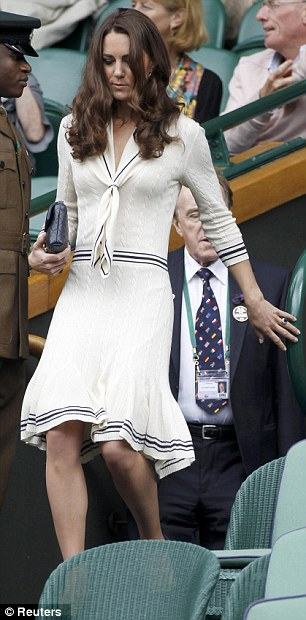The Duchess of Cambridge arrives on Centre Court to take her seat