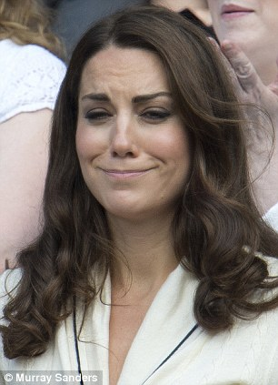 The Duchess of York looks a trifle worried during the Wimbledon semi-final