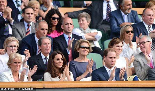 Good company: Kate and William are surrounded by tennis heavyweights in the Royal Box