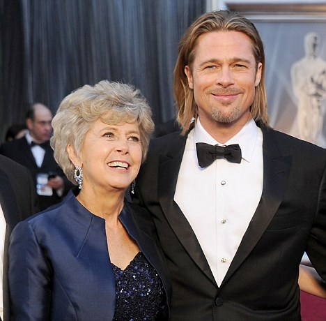Jane Pitt, left, wrote a letter to her hometown paper speaking out against same-sex marriage, which her son Brad Pitt, right, has been championing