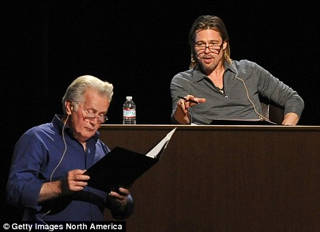 Brad Pitt, right, and Martin sheen, left, were among some 20 celebrities who took part in a March reading of the play 8 about the California law that banned same-sex marriage