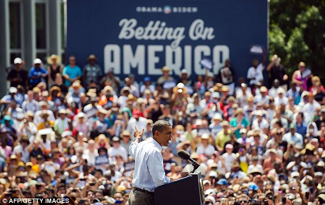 Tough times: Barack Obama delivers remarks during a campaign event at Carnegie Mellon University in Pittsburgh, Pennsylvania