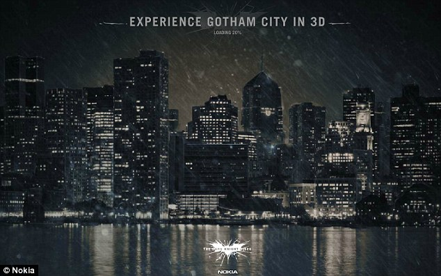 Home of the Dark Knight: The splash screen for Nokia's 3D exploration of Gotham City