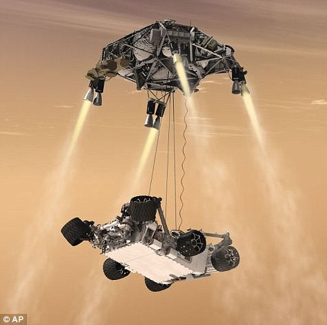 The car-sized Mars Rover Curiosity is lowered to the surface by a Nasa 'sky crane'. The vehicle is expected to land in August