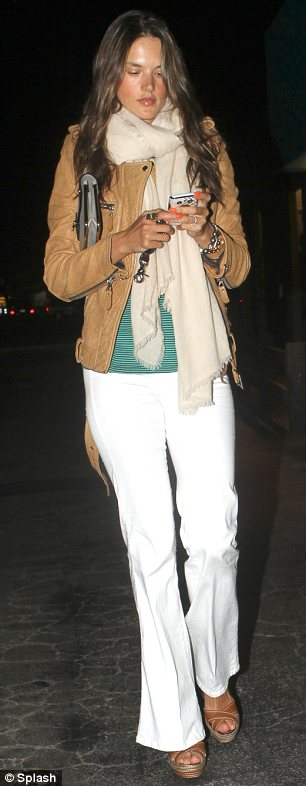 Stylish star: After her fun day out Alessandra went out for dinner in a cool and casual ensemble