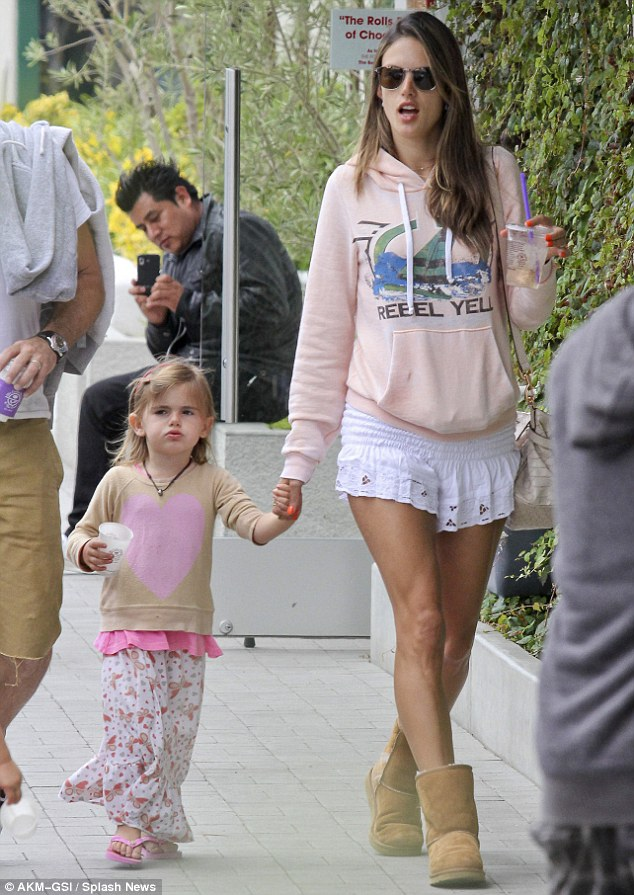 West Coast wardrobe: Alessandra Ambrosio made a stop at the Malibu Country Mart yesterday with her family, including three-year-old daughter Anja