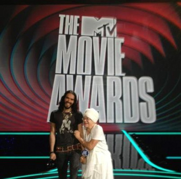 Through the looking glass: Russell brought along Tej to last month's MTV Awards, of which he was the host