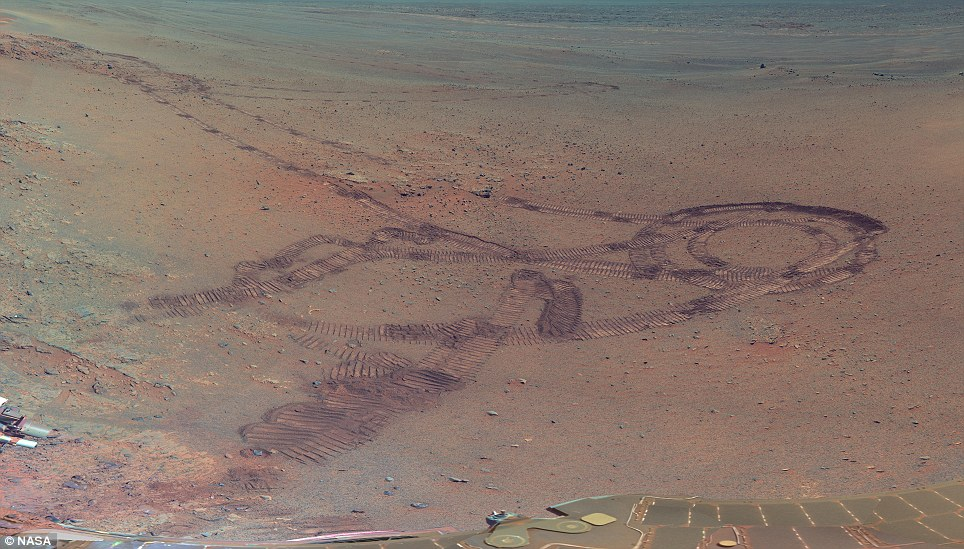 A winter on Mars: NASA's Mars Exploration Rover Opportunity shows the ruddy terrain which the voyaging robot spent the Martian winter