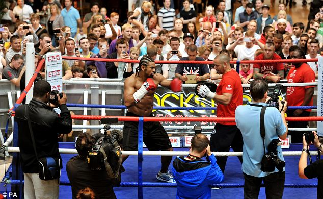 David Haye during the public workout at Bluewater Shopping Centre