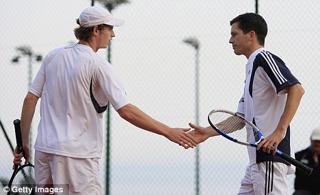 Better late than never: Andy Murray and Tim Henman represented Great Britain together