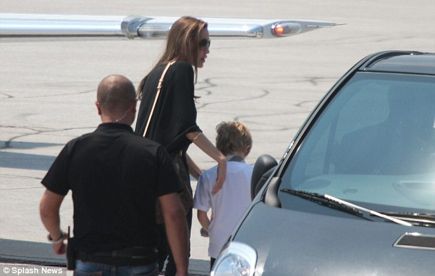 Blast off: Jolie was joined by three of her six children Shiloh, Pax and Zahara, who had all attended the film festival