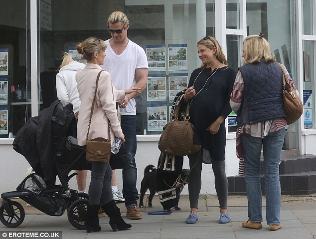 Mother-to-be: She was spotted running into Chris Hemsworth and wife Elsa Pataky, who just welcomed their own baby India