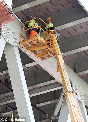 Road workers repairing the M4 elevated section in west London