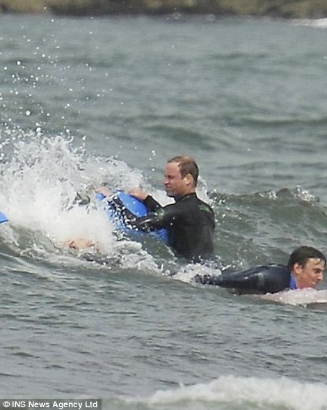 Out at sea: The brothers head out for another chance to body board