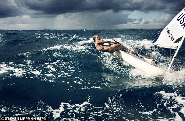 Anna Tunnicliffe, 29, steers her boat in preparation for the the 2012 London Olympics