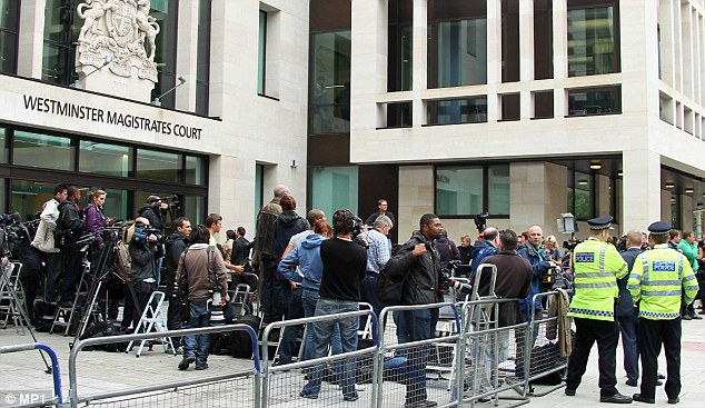 Centre of attention: Members of the media flocked to Westminster Magistrates' Court on Monday
