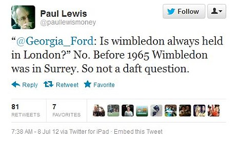 Not all the tweets were abusive though - this from financial journalist Paul Lewis supported her