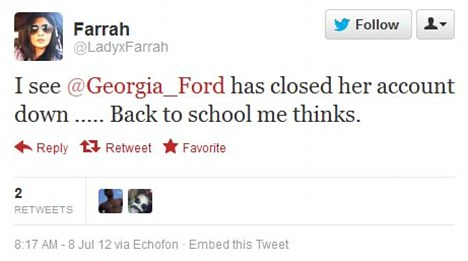 This tweeter got in on the act too, noting that Georgia closed her Twitter account