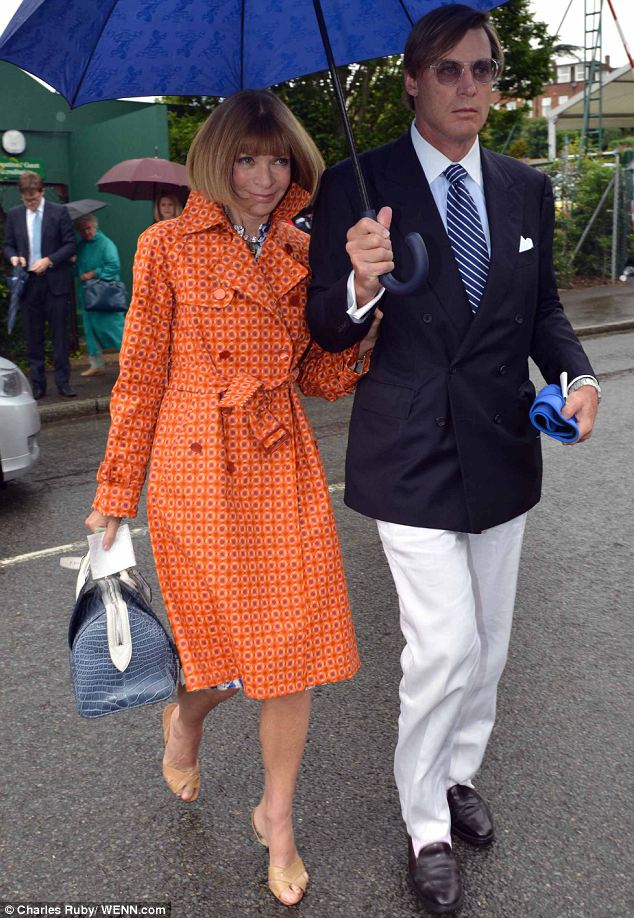 Tennis match: Anna Wintour, editor-in-chief of Vogue, watched the men's singles final tennis match at Wimbledon on Sunday with partner John Shelby Bryan