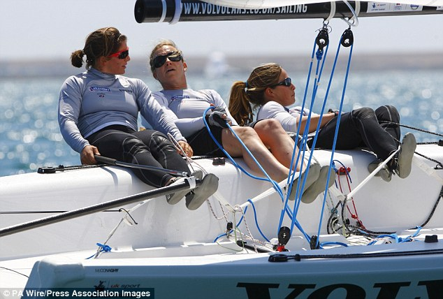 Sailing away: Lucy MacGregor (left), Annie Lush (centre) and Kate MacGregor