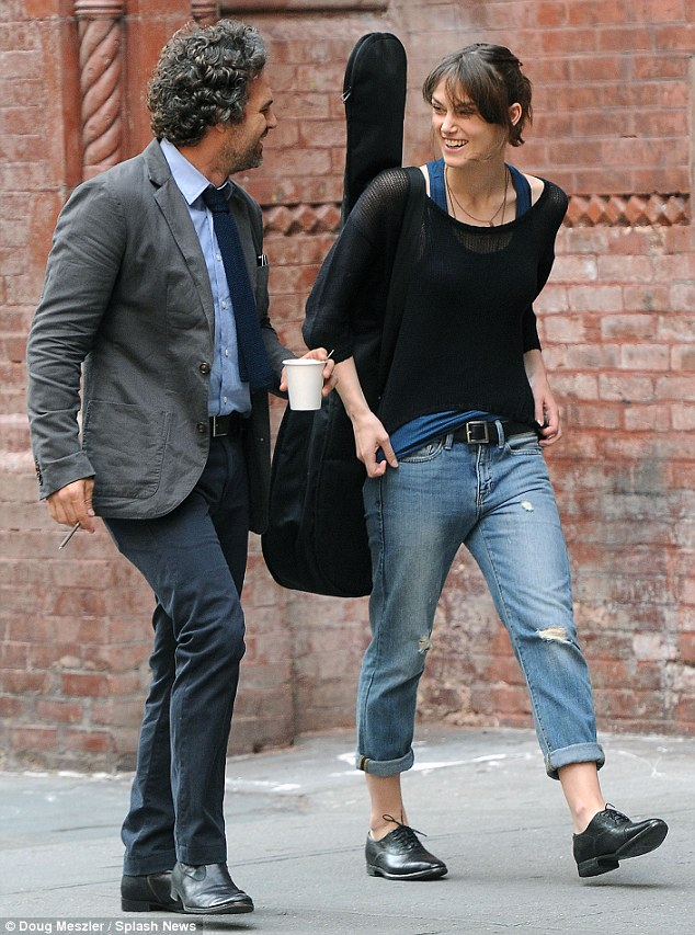 You weren't this funny as The Hulk! Keira and Mark shared a laugh on the street