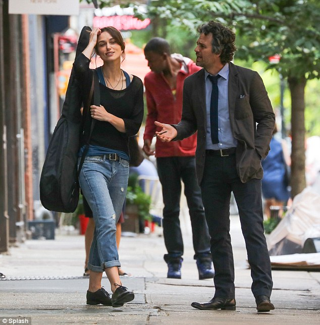 Partnering up: The actress was filming a scene with co-star Mark Ruffalo