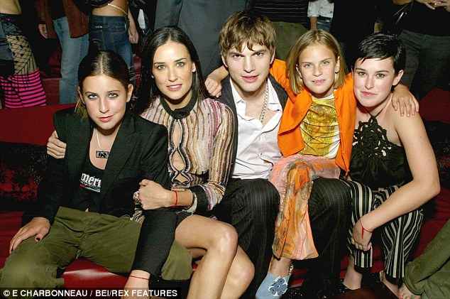 Tough times: The girls are said to be missing Ashton Kutcher who their mother split from late last year