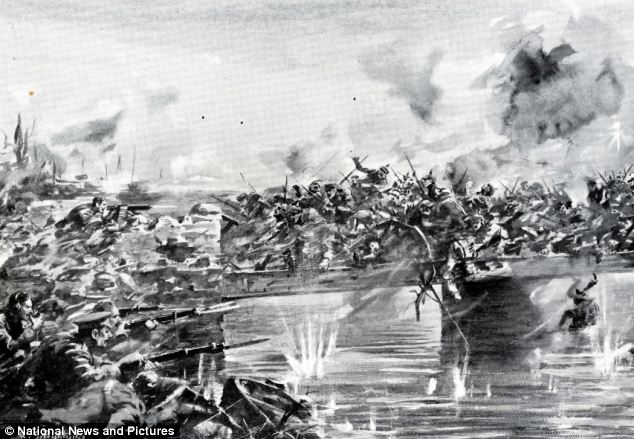 A drawing depicting the battle of the Nimy Bridge at Mons on the 23rd August 1914