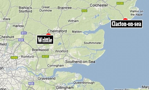 Development: Police have swooped on the Essex village of Writtle (marked A), around 40 miles from where Pc Ian Dibell was shot dead in Clacton-on-Sea (B), after reports that a body has been found in a churchyard