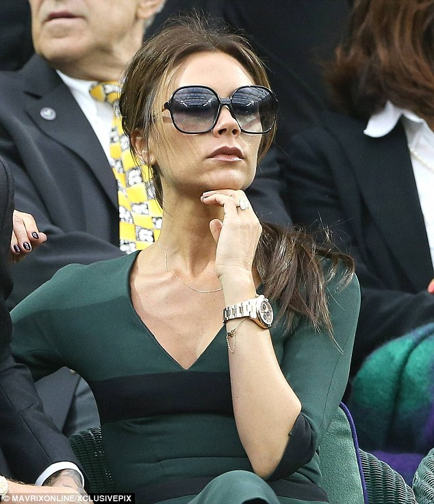 Pouty: Victoria as she appeared in the Wimbledon Royal box during Andy Murray's defeat to Roger Federer
