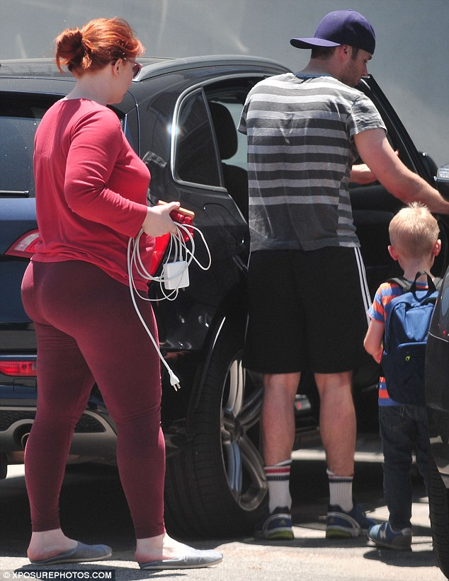A family affair: Bryce was seen with her husband Seth and their son Theo