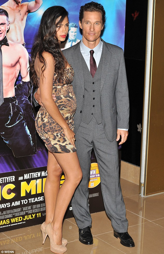 Bumps ahead: Camilla Alves debuted her latest baby bump in a tight leopard-print mini dress at the premiere of husband Matthew McConaughey's film Magic Mike
