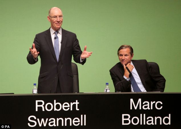 Bolland, pictured right next to chairman Robert Swannell, was told he was reminiscent of the tarnished Barclays boss and that he and fellow directors needed 'lessons in morality'