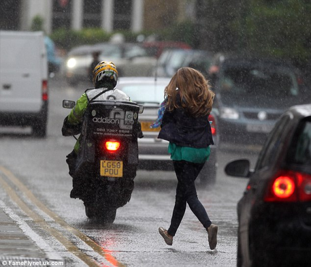 Welcome to the British summer! Kim bears the brunt of our pitiful weather
