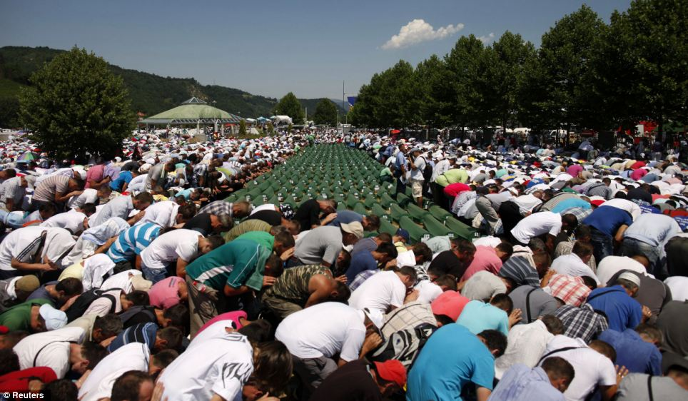 Grieving: Some 30,000 Muslims traveled to a memorial center in Srebrenica, in Bosnia today to bury 520 newly identified victims