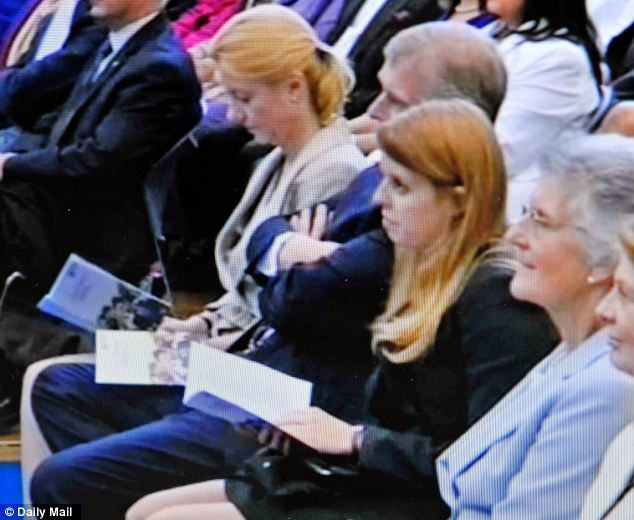 Support: Her sister Beatrice and father the Duke of York attended Eugenie's ceremony