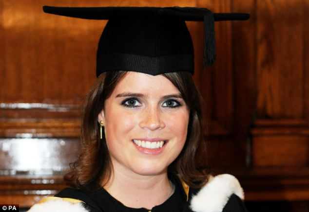 Stunning: Princess Eugenie looks radiant as she attends the graduation ceremony having received a 2:1 in English and history of art