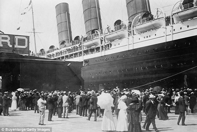 All aboard: The Lusitania arriving in New York City circa 1907