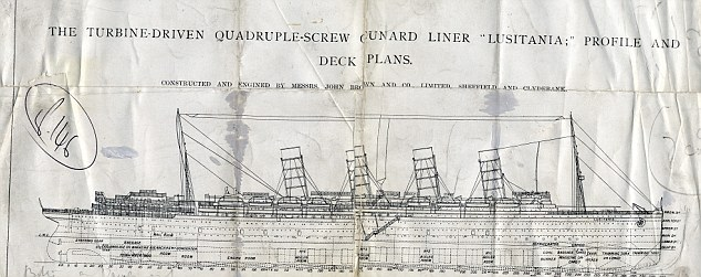 Promising beginnings: A diagram of the Lusitania Cunard liner which sank in May 1915