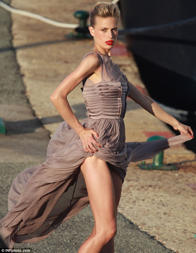 Fierce: Karolina Kurkova looked as stunning as ever as she took part in a sexy photoshoot in St Tropez
